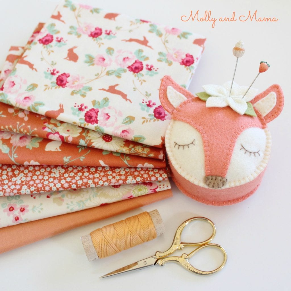 Peaches and Cream tilda fabrics with Fifi Fox